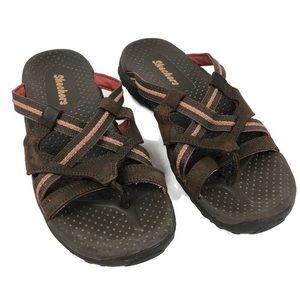 Skechers Brown and Coral Slip on Thong Sandals